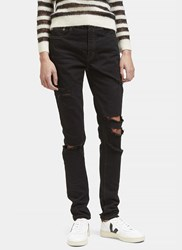 Saint Laurent High Waisted Distressed Skinny Jeans Black