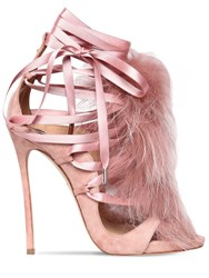 Dsquared 120Mm Riri Suede Lace Up Sandals W Fur Pink