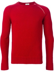 Saint Laurent Zip Detail Sweater Red