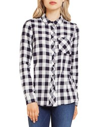 Bcbgeneration Gingham Plaid Button Down Shirt Deep Blue