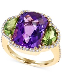 Effy Collection Effy Amethyst 10 Ct. T.W. Peridot 2 Ct T.W. And Diamond 3 8 Ct. T. W. Ring In 14K Gold