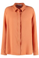 See By Chloe Pleated Cloque Shirt Bright Orange