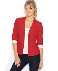 Kensie Three Quarter Sleeve Blazer Rouge