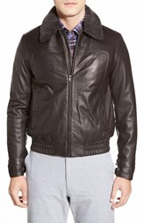 Men's Robert Comstock Leather Bomber With Genuine Shearling Collar