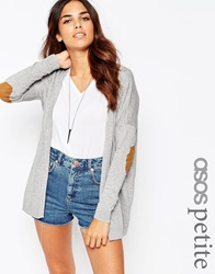 Asos Petite Swing Cardigan With Oval Tan Suedette Elbow Patch Grey
