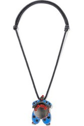 Red Valentino Gunmetal Tone Enamel And Cord Necklace Black