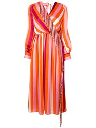 Msgm Striped Tassel Dress Orange