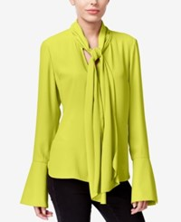 Rachel Roy Tie Neck Bell Sleeve Blouse Only At Macy's Olive