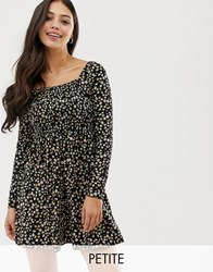 New Look Petite Ditsy Floral Shirred Dress In Black