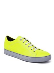 Lanvin Leather Low Top Sneakers Fluo Yellow