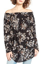 Women's Bp. Off The Shoulder Tunic Black Roaming Cluster Floral
