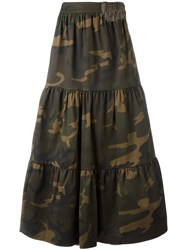 Ledition Camouflage Print Maxi Skirt Green