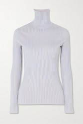 Sies Marjan Victoire Ribbed Stretch Silk Turtleneck Sweater Blue