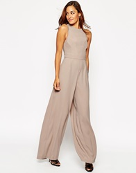 Asos Jumpsuit With Palazzo Leg And Spaghetti Straps Stone