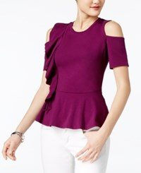Guess Jaime Ruffled Cold Shoulder Top Dark Purple