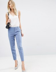 Asos Ankle Grazer Cigarette Pants In Crepe Blue