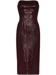 Haney Martina Strapless Sequin Midi Dress Red