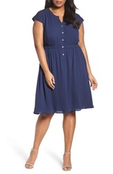 Sejour Plus Size Women's Crepe Georgette Cinched Waist Shirtdress Navy Peacoat