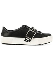 Karl Lagerfeld Studded Buckle Lace Up Sneakers Black