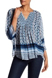 Casual Studio V Neck Pleated Blouse Blue