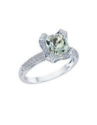 Le Vian Sea Blue Aquamarine And Vanilla Diamond 14K Vanilla Gold Ring White Gold