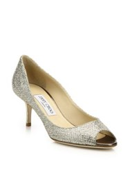 Jimmy Choo Glitter Leather Peep Toe Pumps Champagne