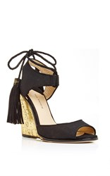 Paul Andrew Tianjin Glitter Wedge Heels With Tasseled Ankle Tie Black