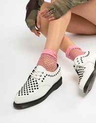 Dr. Martens Dr Willis White Leather Studded Flat Shoes