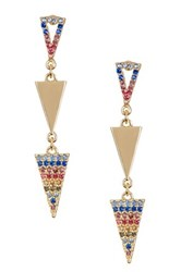 Spring Street Triple V Drop Pave Earrings Multi