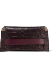 Iris And Ink Woman Asa Glossed Croc Effect Leather Pouch Merlot