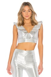 X By Nbd Fever Top Metallic Silver