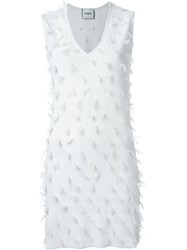 Iceberg Feather Embellished Dress White