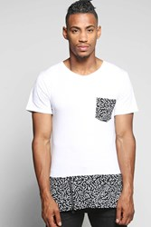 Boohoo Pocket And Panel Print T Shirt With Zips White