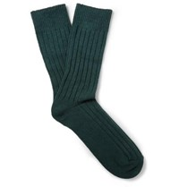 Anderson And Sheppard Ribbed Wool Blend Socks Petrol