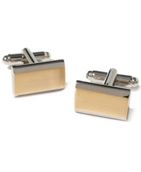 Geoffrey Beene Beveled Rectangular Cufflinks Silver Gold