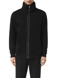 Allsaints Double Funnel Neck Full Zip Sweatshirt Jet Black