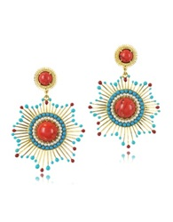 Les Nereides Gypsunset Red And Turquoise Drop Earrings