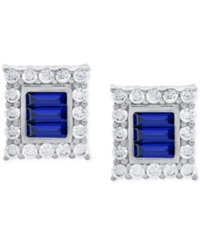 Crislu Platinum Over Sterling Silver Cubic Zirconia Square Stud Earrings Blue