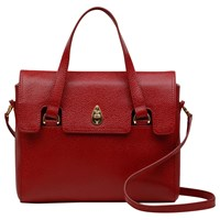 Tula Originals Leather Medium Grab Flapover Bag Red Scarlet