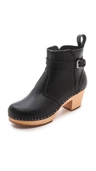 Swedish Hasbeens Jodhpur Clog Booties Black