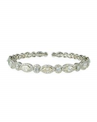 Diana M. Jewels 18K White Gold Marquise And Round Diamond Bangle Bracelet 6.74Tcw