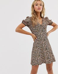 Miss Selfridge Tea Dress With Shirred Sleeves In Ditsy Floral Pink
