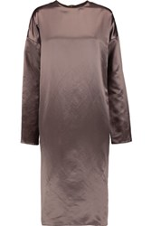 Marni Cotton And Silk Blend Satin Dress Brown