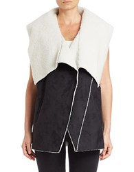 1.State Sherpa Lined Faux Suede Vest Rich Black