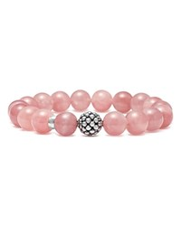 Lagos Sterling Silver Caviar Ball Beaded Star Rose Quartz Bracelet 10Mm Pink