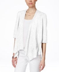 Alfani Petite Linen Blend Open Front Cardigan Only At Macy's Bright White