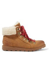 Sorel Ainsley Conquest Shearling Trimmed Waterproof Leather Ankle Boots Tan