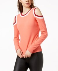 Bar Iii Varsity Cold Shoulder Top Created For Macy's Caicos Red