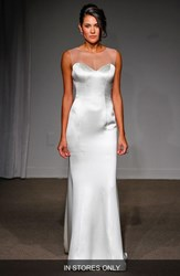 Women's Anna Maier Couture 'Nicole' Illusion Neck Satin A Line Gown In Stores Only