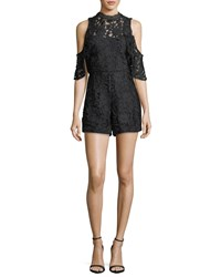 Alice Olivia Junie Cold Shoulder Lace Romper Black